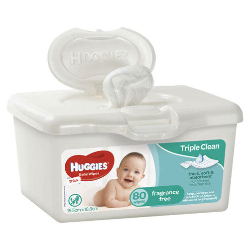 Huggies Baby Wipes Fragrance Free tub 80pk