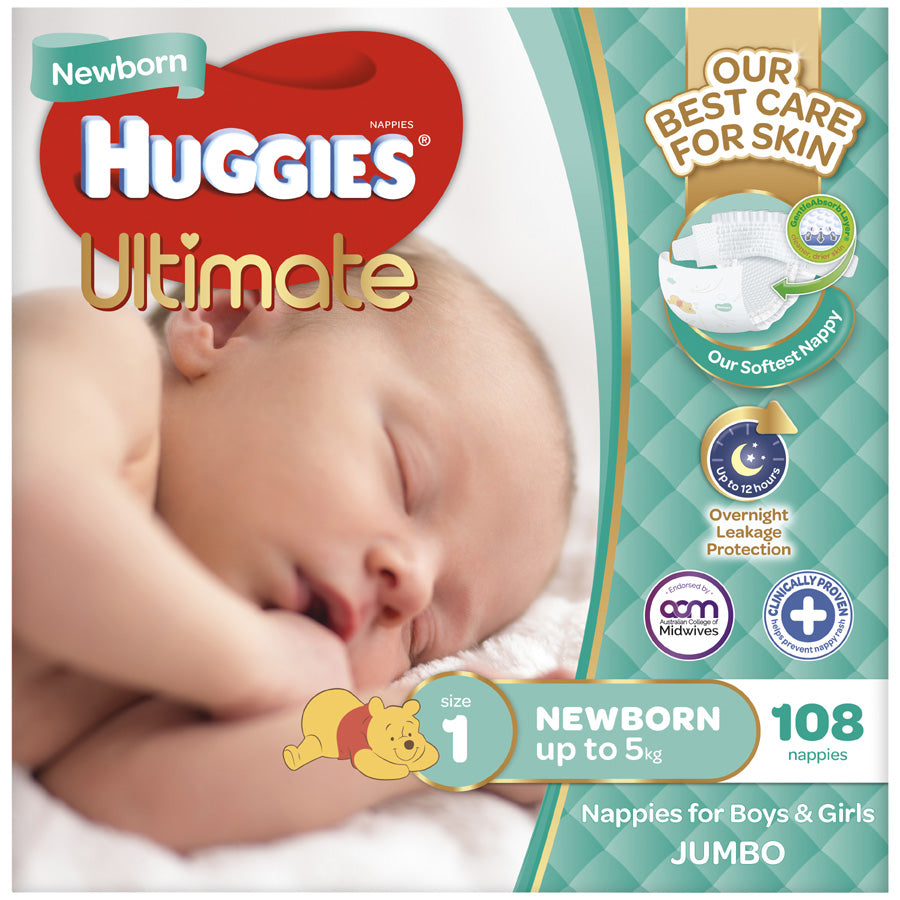Huggies Ultimate Newborn Nappies Up To 5kg Size 1 jumbo pack 108pk