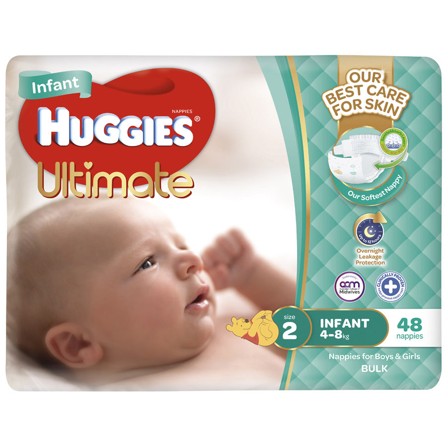 Huggies Ultra Dry Infant 4-8kg Size 2 bulk pack 48pk
