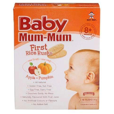 Baby Mum Mum Teething Rusks Rice Apple + Pumpkin 36g 18pk