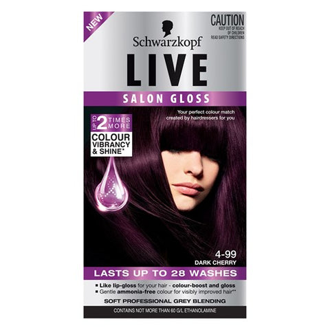 Schwarzkopf Live Salon Gloss Hair Colour Dark Cherry 4.99 1pk