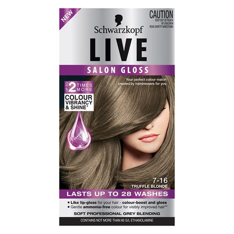 Schwarzkopf Live Salon Gloss Hair Colour Truffle Blonde 7.16 1pk