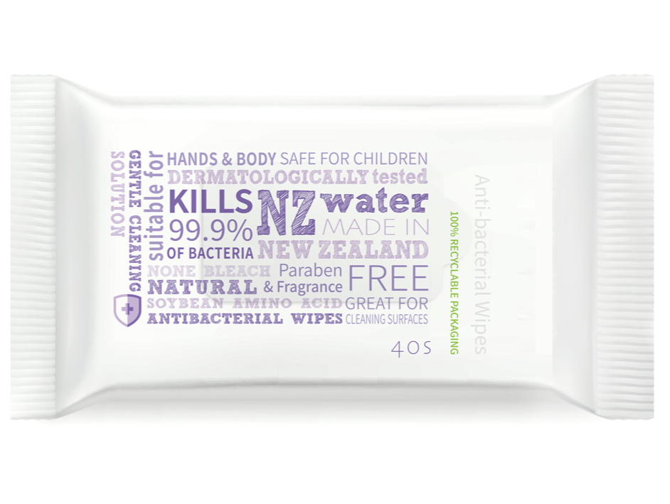 NZ Made 3 in 1 Anti-Baterial Hand, Body & Surface Wipes (40pk)