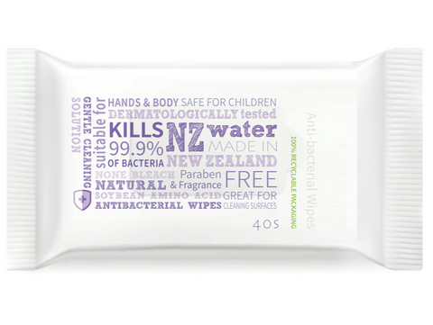 NZ Made 3 in 1 Anti-Bacterial Hand, Body & Surface Wipes (40pk)