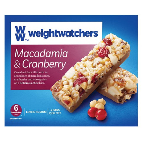 Weight Watchers Muesli Bars Macadamia & Cranberry 136g 4pk