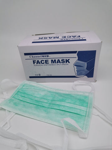 3-Ply Surgical Grade Tie-On Face Mask (1pcs) - Green