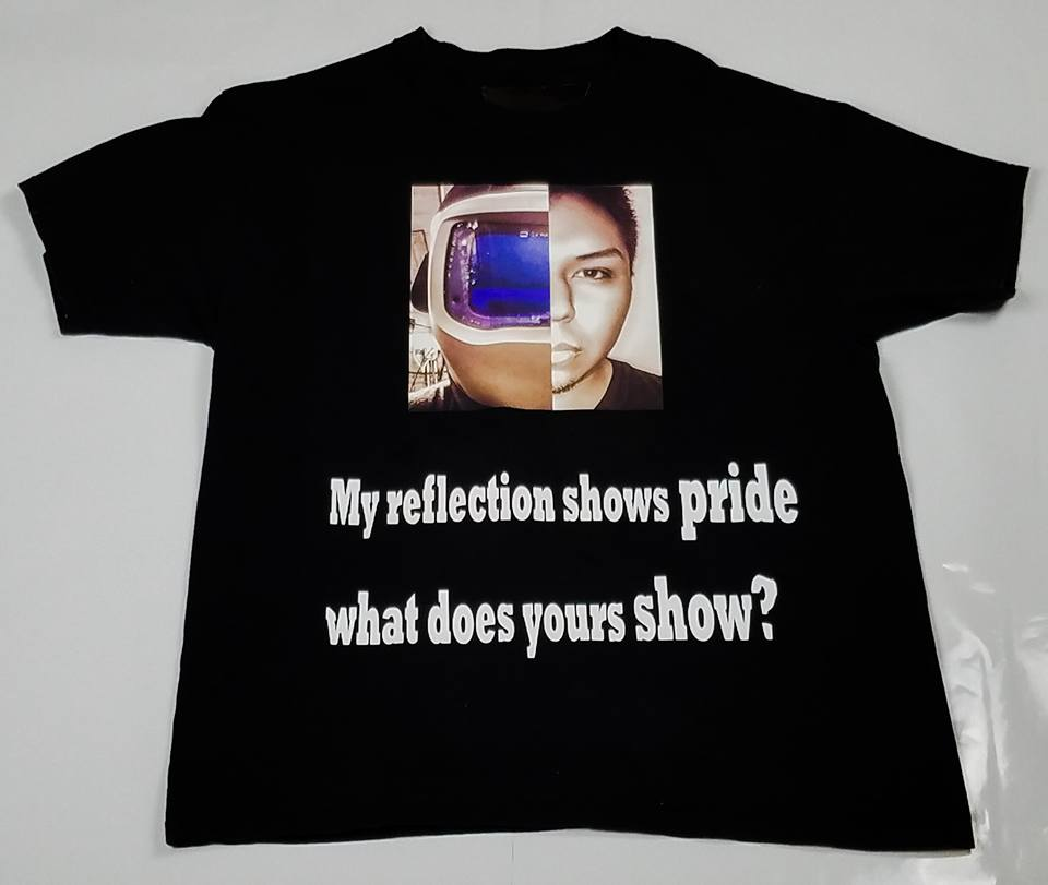 short sleeve shirt , my reflection shows pride what does yours show?.