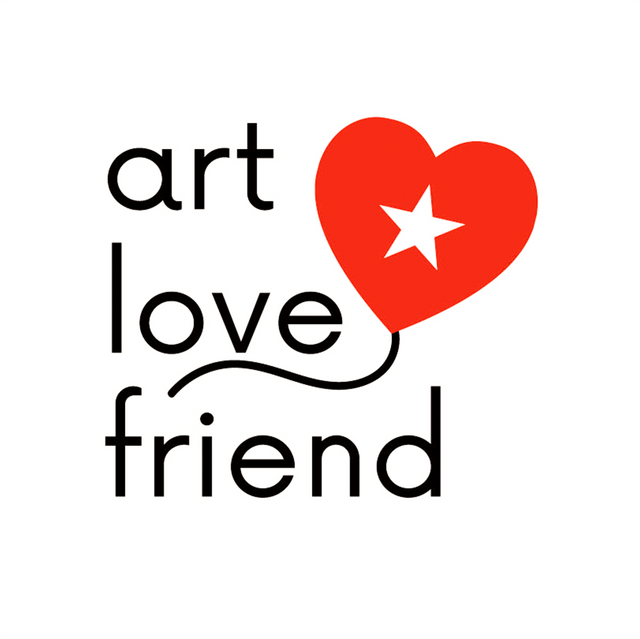 Logo and text of art love friend brand. Red heart with star like a balloon.