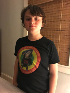 Image 2 of young person wearing Japhy the Wizened Chiweenie - One Lub - Short Sleeve Youth T Shirt - Black OPTION by Art Love Friend.