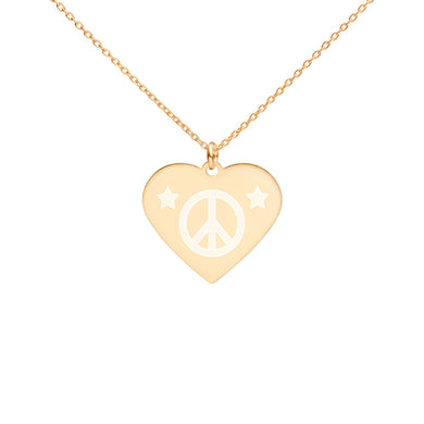 HEART PEACE STAR - Engraved Sterling Silver Heart Necklace