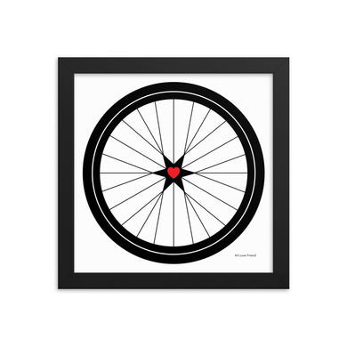 Image of BICYCLE LOVE - Star Heart Wheel Framed poster - 10 x 10 SIZE OPTION by Art Love Friend.