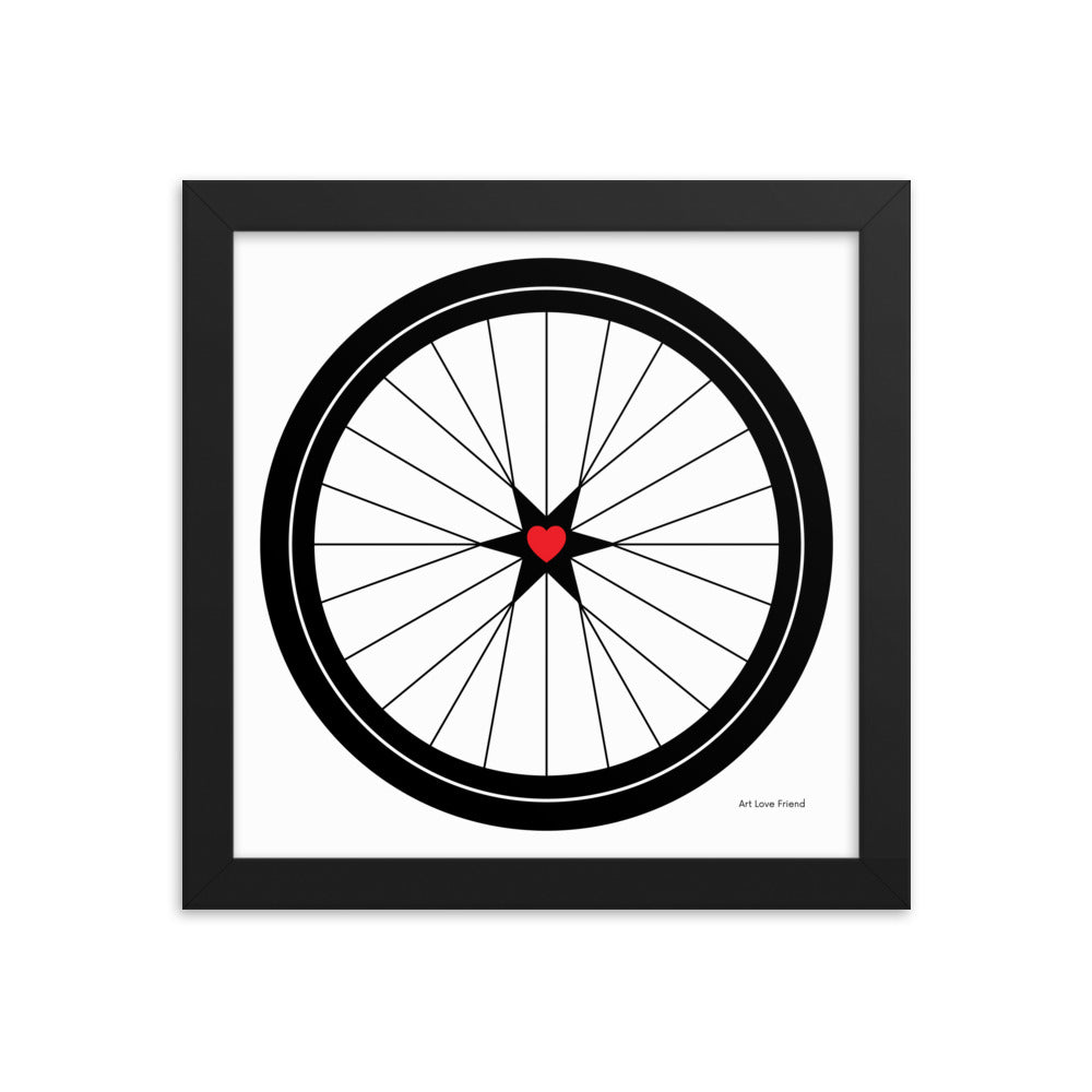 BICYCLE LOVE - Star Heart Wheel Framed poster - MULTI SIZE OPTIONS