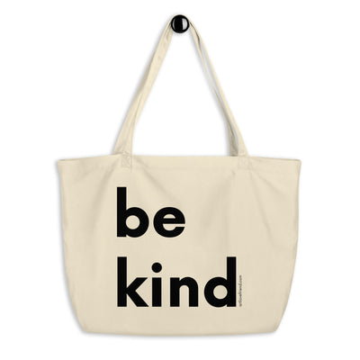 Image of be kind - Large organic tote bag - natural with black letters by Art Love Friend.