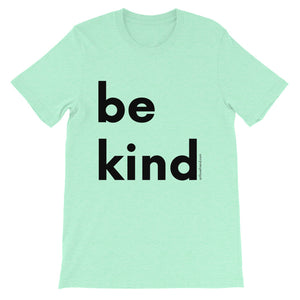 Image of be kind - Black Letters - Adult Short-Sleeve Unisex T-Shirt - HEATHER MINT COLOR OPTION.