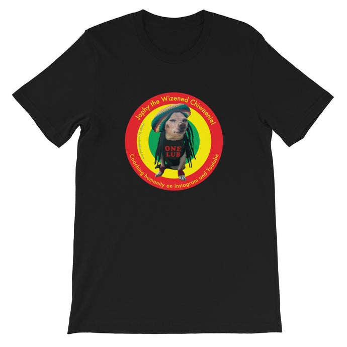 Image of Japhy the Wizened Chiweenie - One Lub - Short Sleeve Adult Unisex T Shirt - REGGAE LOVE COLOR OPTION- BLACK by Art Love Friend.