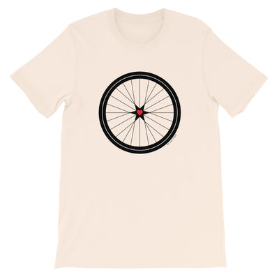 Image of BICYCLE LOVE - Short-Sleeve Unisex T-Shirt - soft cream COLOR OPTION by Art Love Friend.