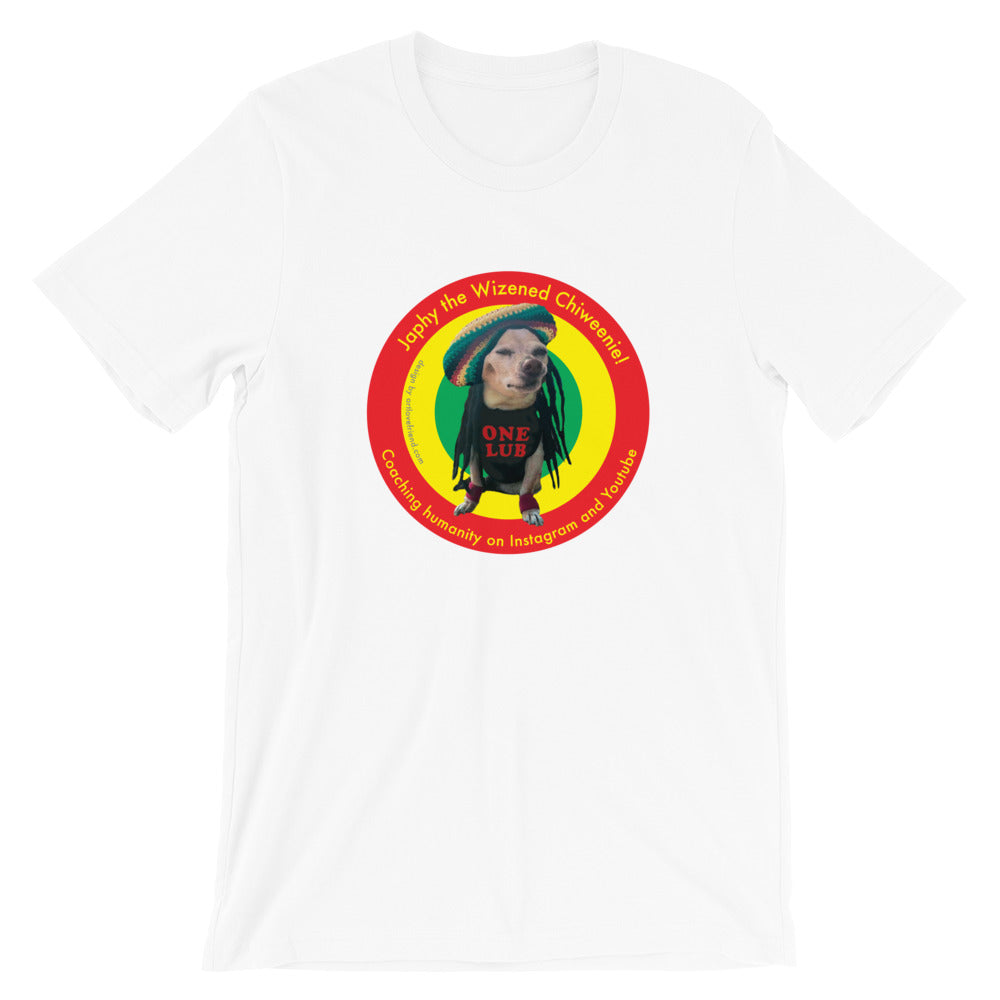 Image of Japhy the Wizened Chiweenie - One Lub - Short Sleeve Adult Unisex T Shirt - REGGAE LOVE COLOR OPTION- WHITE by Art Love Friend.