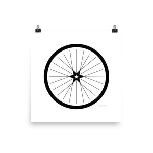 Image of BICYCLE LOVE - Shining Star Wheel Poster - 18 x 18 SIZE OPTION by Art Love Friend.