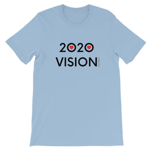 Image of 2020 VISION - Adult Short Sleeve Unisex T-Shirt - LIGHT BLUE COLOR OPTION by Art Love Friend.