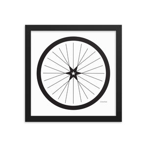 Image of BICYCLE LOVE - Shining Star Wheel Framed Poster - 12 x 12 SIZE OPTION by Art Love Friend.
