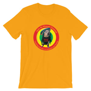 Image of Japhy the Wizened Chiweenie - One Lub - Short Sleeve Adult Unisex T Shirt - REGGAE LOVE COLOR OPTION- GOLD by Art Love Friend.