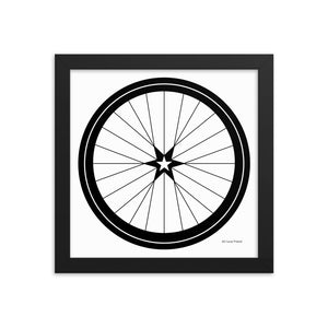 Image of BICYCLE LOVE - Star Wheel Framed poster - 10 x 10 SIZE OPTION by Art Love Friend.