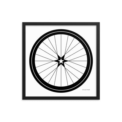 Image of BICYCLE LOVE - Star Wheel Framed poster - 18 x 18 SIZE OPTION by Art Love Friend.
