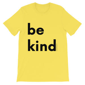 Image of be kind - Black Letters - Adult Short-Sleeve Unisex T-Shirt - YELLOW COLOR OPTION.