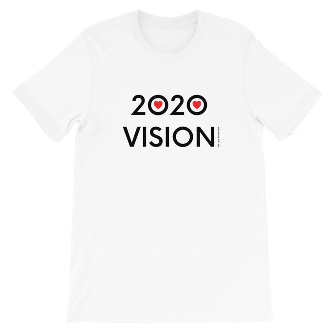 Image of 2020 VISION - Adult Short Sleeve Unisex T-Shirt - WHITE COLOR OPTION by Art Love Friend.