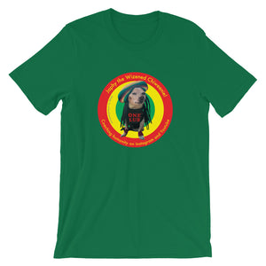 Image of Japhy the Wizened Chiweenie - One Lub - Short Sleeve Adult Unisex T Shirt - REGGAE LOVE COLOR OPTION - KELLY by Art Love Friend.