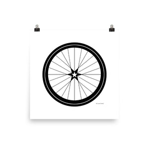 Image of BICYCLE LOVE - Star Wheel poster - 14 x 14 SIZE OPTION by Art Love Friend.