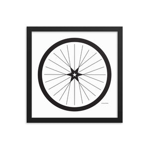 Image of BICYCLE LOVE - Shining Star Wheel Framed Poster - 14 x 14 SIZE OPTION by Art Love Friend.