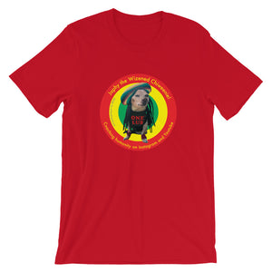 Image of Japhy the Wizened Chiweenie - One Lub - Short Sleeve Adult Unisex T Shirt - REGGAE LOVE COLOR OPTION- RED by Art Love Friend.