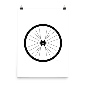 Image of BICYCLE LOVE - Shining Star Wheel Poster - 18 x 24 SIZE OPTION by Art Love Friend.