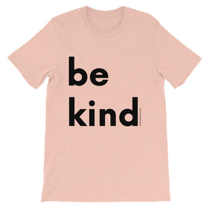 Image of be kind - Black Letters - Adult Short-Sleeve Unisex T-Shirt - HEATHER PRISM PEACH COLOR OPTION.