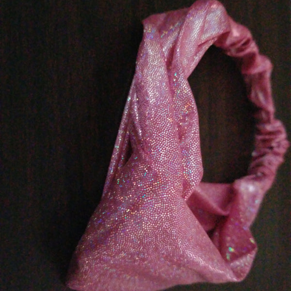 Pink Shimmer Knotted Head Band