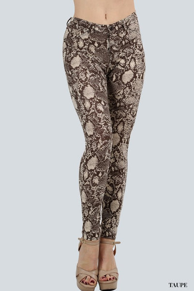 Snakeskin Print Jegging (Taupe or White)