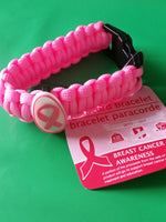 Paracord Bracelet Light Pink with Pink Ribbon