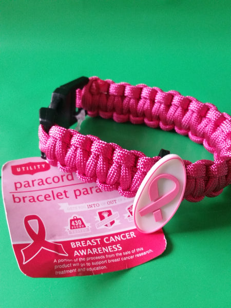 Paracord Bracelet Dark Pink with Pink Ribbon