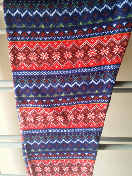 Red & Blue Snowflake Fleece Legging