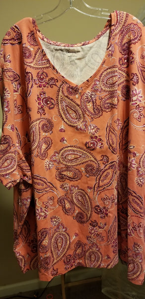 Coral Short Sleeve Paisley Tee (Size 5x and 6x)