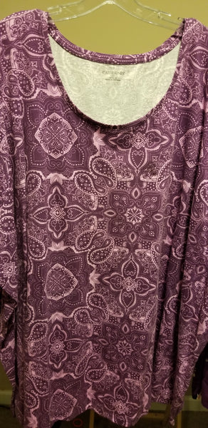 Purple Short Sleeve Paisley Tee (Size 0x and 6x)