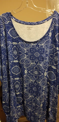 Blue Short Sleeve Paisley Tee (Size 5x and 6x)