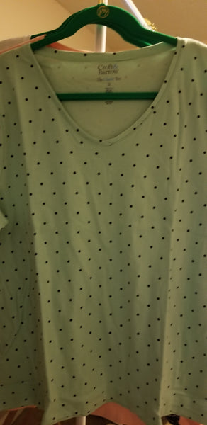 Green Polka Dot Women T-Shirt (1x, 2x, 3x)