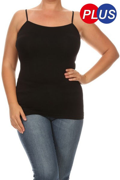 Black Cami Spaghetti Strap Top - Plus Size - Arrives 12/16