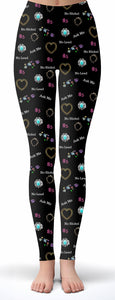 Custom Jewelry Black Print Leggings
