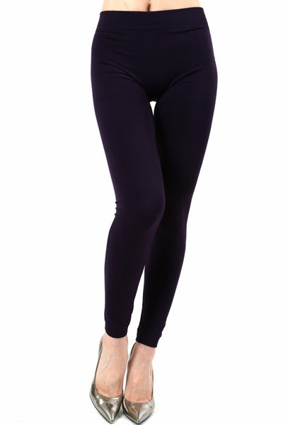 Solid Fleece Dark Purple OS Legging