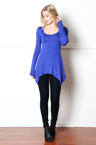 Royal Blue Shark Bite Hem Long Sleeved Top