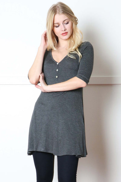 Charcoal Button Trimmed Tunic Top