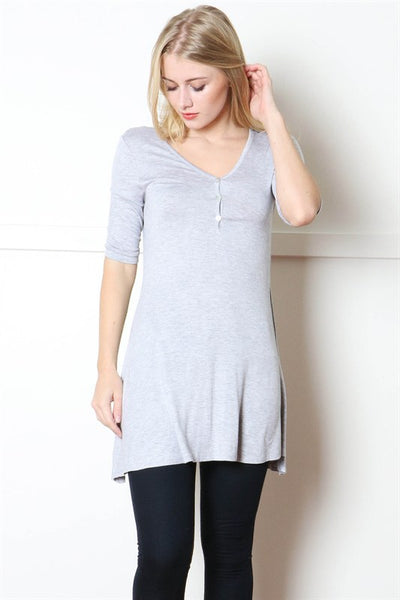 Heather Grey Button Trimmed Tunic Top